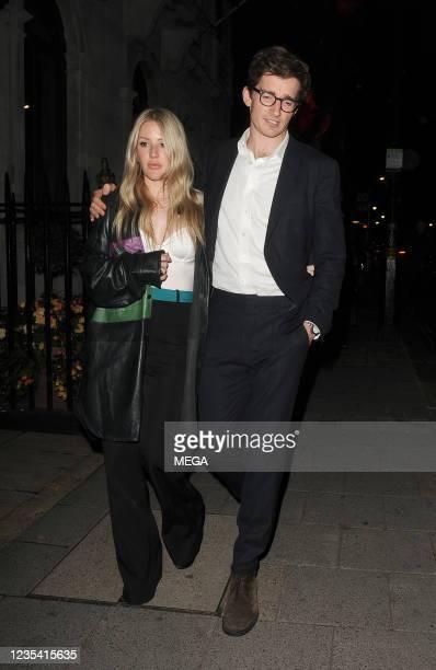 Ellie Goulding and Caspar Jopling are seen on September 21, 2021 in London, England.