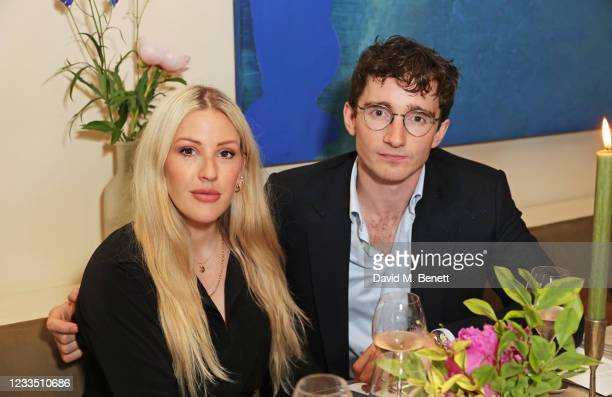 """Ellie Goulding and Caspar Jopling attend a private view, dinner and auction of multi-disciplinary artist Lily Lewis' new collection """"Safe Places"""" in..."""