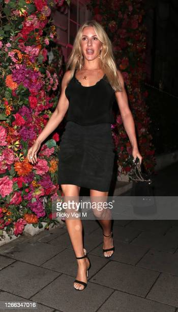 Ellie Goulding and Caspar Jopling seen on at Annabel's members club in Mayfair on August 14 2020 in London England