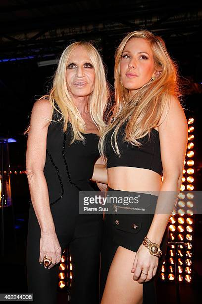 Ellie Goulding and Donatella Versace at the Atelier Versace after party at 'l'arc' club on January 25 2015 in Paris France