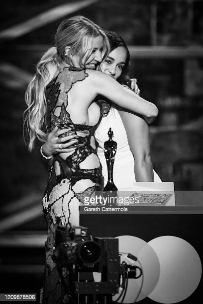 Ellie Goulding and Jorja Smith present the Female Solo Artist award during The BRIT Awards 2020 at The O2 Arena on February 18 2020 in London England
