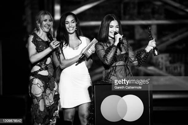 Ellie Goulding and Jorja Smith present the Female Solo Artist award to Mabel during The BRIT Awards 2020 at The O2 Arena on February 18 2020 in...