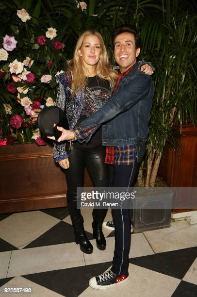 Ellie Goulding and Nick Grimshaw attend the Universal Music BRIT Awards AfterParty 2018 hosted by Soho House and Bacardi at The Ned on February 21...
