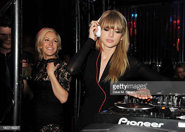 Ellie Goulding and Taylor Swift attend the Universal Music Brits Party hosted by Bacardi at the Soho House popup on February 20 2013 in London England