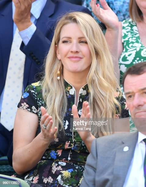 Ellie Goulding attends day one of the Wimbledon Tennis Championships at the All England Lawn Tennis and Croquet Club on July 2 2018 in London England