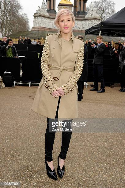 Ellie Goulding attends the Burberry Prorsum Show at London Fashion Week Autumn/Winter 2011 at Kensington Gardens on February 21, 2011 in London,...
