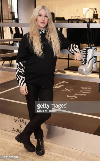 Ellie Goulding attends the unveiling of the BOSS x AJBXNG second capsule collection at BOSS Store, Regent Street, on February 24, 2021 in London,...