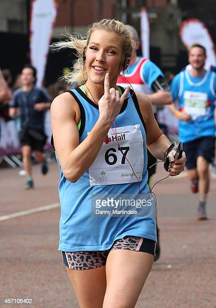 Ellie Goulding finishes the Royal Parks Foundation half marathon in 1 hour 42 minutes at Hyde Park on October 12 2014 in London England