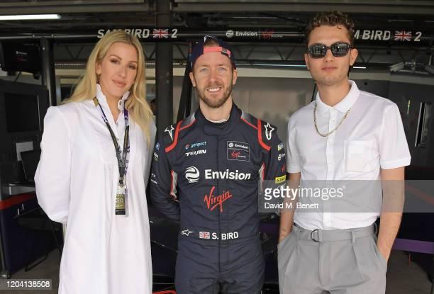Ellie Goulding, Formula E Racing Driver Sam Bird and Rafferty Law, wearing Hugo Boss, attend The ABB FIA Formula E 2020 Marrakesh E-Prix on February...
