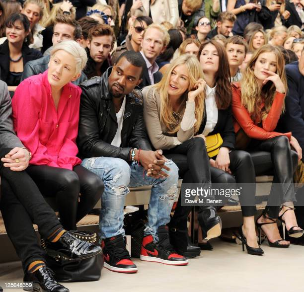 Ellie Goulding Kanye West Sienna Miller Gemma Arterton and Rosie HuntingtonWhiteley attend at the Burberry Spring Summer 2012 Womenswear Show at...