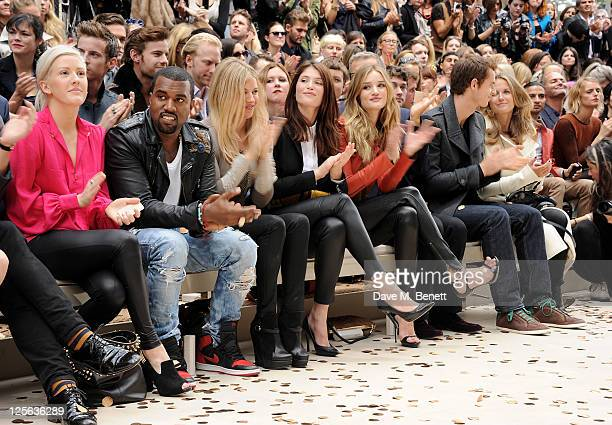 Ellie Goulding Kanye West Sienna Miller Gemma Arterton Rosie HuntingtonWhiteley Mario Testino Andy Murray and Kim Sears attend at the Burberry Spring...