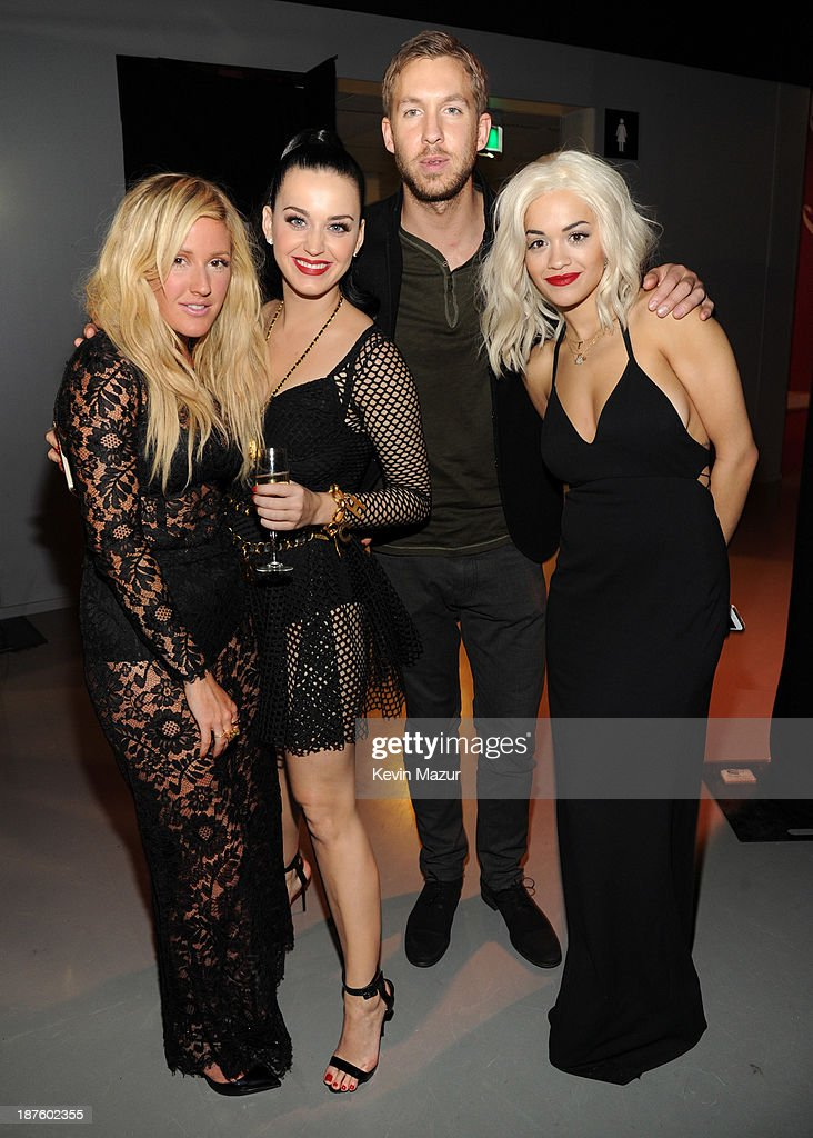 Ellie Goulding, Katy Perry, Calvin Harris and Rita Ora backstage at the MTV EMA's 2013 at Ziggo Dome on November 10, 2013 in Amsterdam, Netherlands.