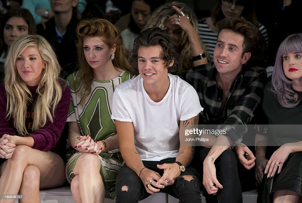 Ellie Goulding, Nicola Roberts, Harry Styles, Nick Grimshaw and Kelly Osbourne attend the House Of Holland show during London Fashion Week SS14 on September 14, 2013 in London, England.