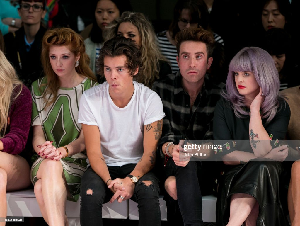 Ellie Goulding, Nicola Roberts, Harry Styles, Nick Grimshaw and Kelly Osbourne attends the House Of Holland show during London Fashion Week SS14 on September 14, 2013 in London, England.
