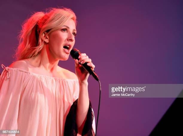 Ellie Goulding performs at Land Rover North America Hosts The U.S. Debut Of The Range Rover Velar Lincoln Ristorante on April 11, 2017 in New York...