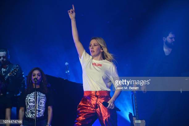 Ellie Goulding performs at the 'Ellie Goulding for Streets Of London' charity gig at The SSE Arena Wembley on December 20 2018 in London England