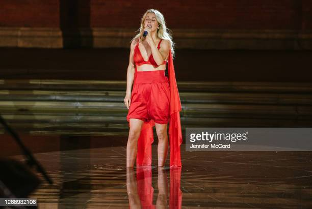 Ellie Goulding performs at The V&A on August 26, 2020 in London, England. The performance was live streamed for ticket holders during the COVID-19...