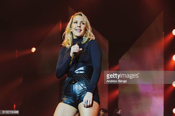 Ellie Goulding performs on stage at Sheffield Arena on March 12 2016 in Sheffield England