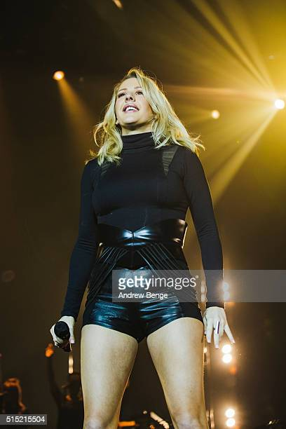 Ellie Goulding performs on stage at Sheffield Arena on March 12, 2016 in Sheffield, England.