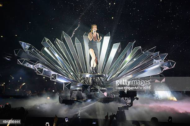 Ellie Goulding performs on stage during the MTV EMA's 2015 at the Mediolanum Forum on October 25 2015 in Milan Italy