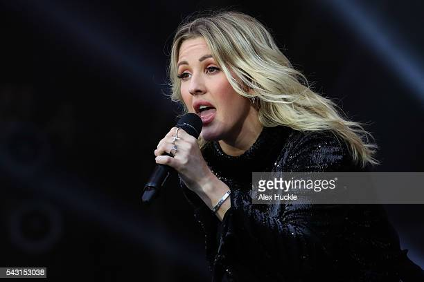 Ellie Goulding performs on The Pyramid Stage at the Glastonbury Festival at Worthy Farm Pilton on June 26 2016 in Glastonbury England