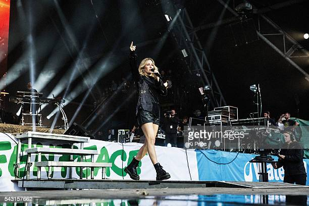 Ellie Goulding performs on the Pyramid Stage on Day 3 of the Glastonbury Festival 2016 at Worthy Farm, Pilton on Sunday, June 26, 2016 in...