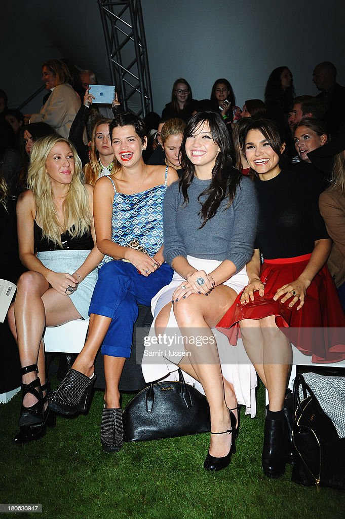 Ellie Goulding, Pixie Geldof, Daisy Lowe and Samantha Barks attend the Unique show during London Fashion Week SS14 at TopShop Show Space on September 15, 2013 in London, England.