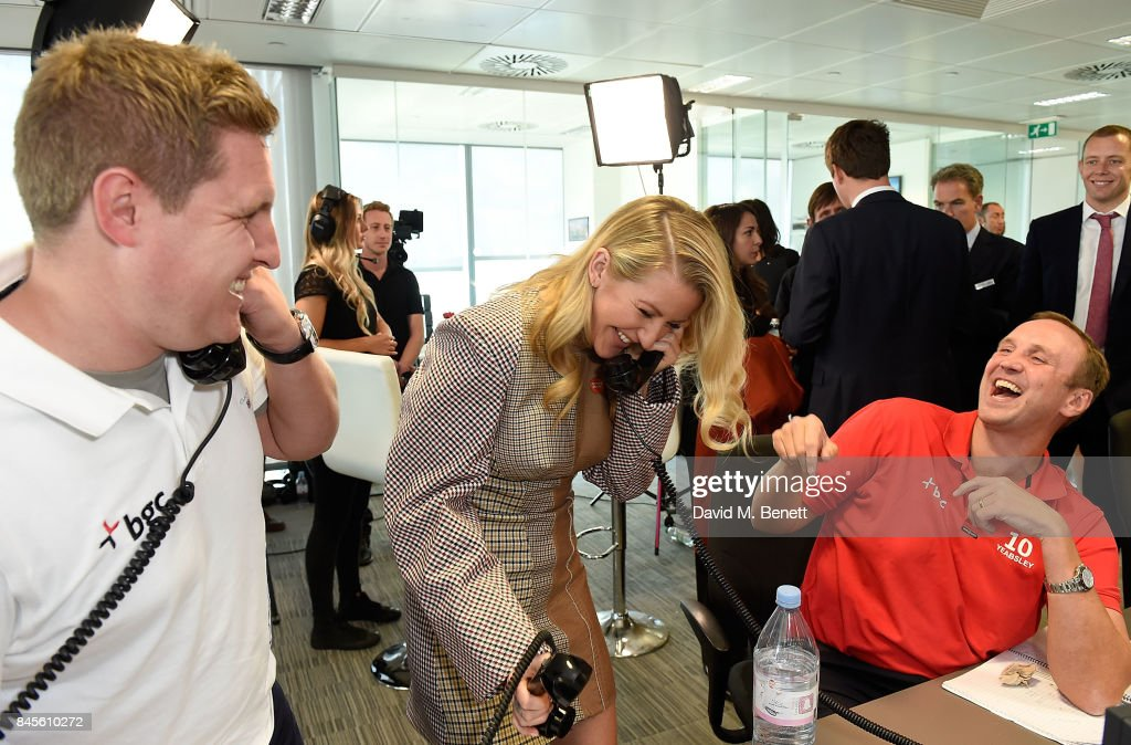 Ellie Goulding representing Centrepoint, makes a trade at BGC Charity Day on September 11, 2017 in Canary Wharf, London, United Kingdom.