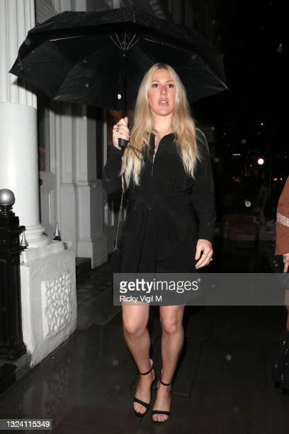 Ellie Goulding seen leaving The Petersham Restaurant after attending Petersham Nurseries x Lily Lewis: Safe Spaces - dinner on June 17, 2021 in...
