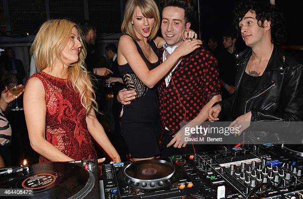 Ellie Goulding Taylor Swift Nick Grimshaw and Matt Healy attend the Universal Music Brits party hosted by Bacardi at The Soho House PopUp on February...