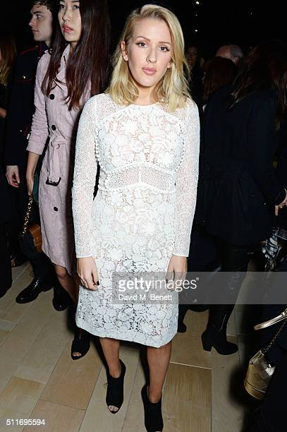 Ellie Goulding wearing Burberry at the Burberry Womenswear February 2016 Show at Kensington Gardens on February 22 2016 in London England