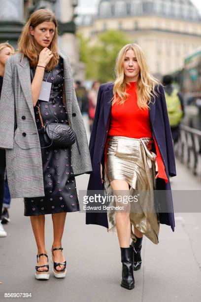 Ellie Goulding wears a blue coat a red top a skirt outside Stella Mccartney during Paris Fashion Week Womenswear Spring/Summer 2018 on October 2 2017...