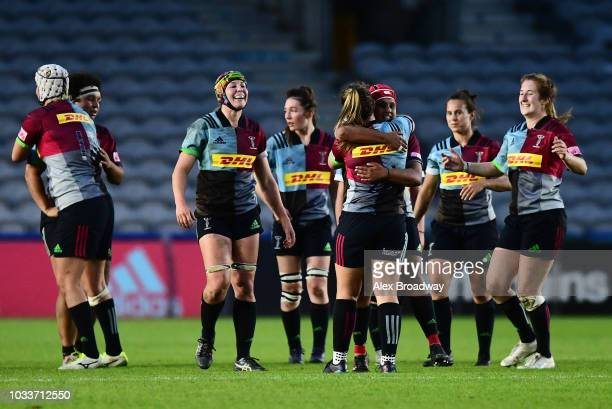 Ellie Green of Harlequins Ladies celebrates with team mates during the Tyrrells Premier 15s match between Harlequins Ladies and Bristol Bears Women...
