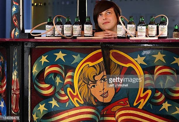 Ellie Harrison displays her work Fairgame at the Briggait ahead of city's newest art fair VaultGlasgow's opening to the public on September 8 2011 in...