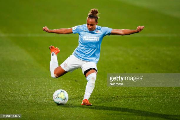 Ellie Jean of PSV during the UEFA Champions League Women match between PSV v FC Barcelona at the Johan Cruyff Stadium on December 16, 2020 in...