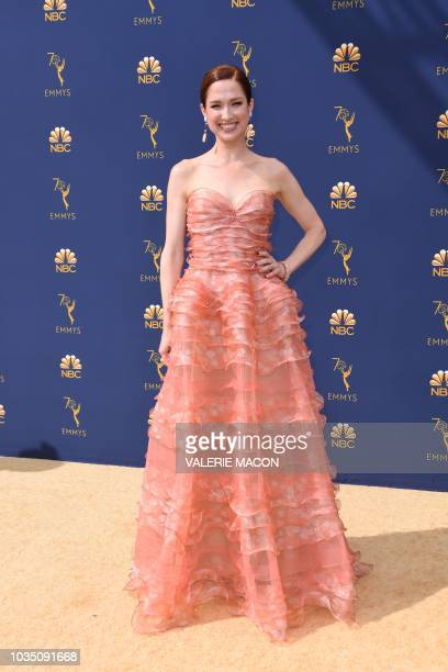 Ellie Kemper arrives for the 70th Emmy Awards at the Microsoft Theatre in Los Angeles California on September 17 2018