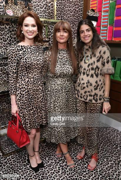 Ellie Kemper Deborah Lloyd and Leandra Medine attend the Leopard Leopard Leopard PopUp Shop hosted by Kate Spade New York Man Repeller on September...