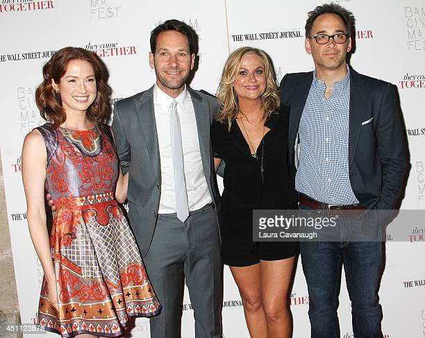 Ellie Kemper Paul Rudd Amy Poehler and David Wain attend the 'They Came Together' screening during theBAMcinemaFest 2014 at BAM Harvey Theater on...