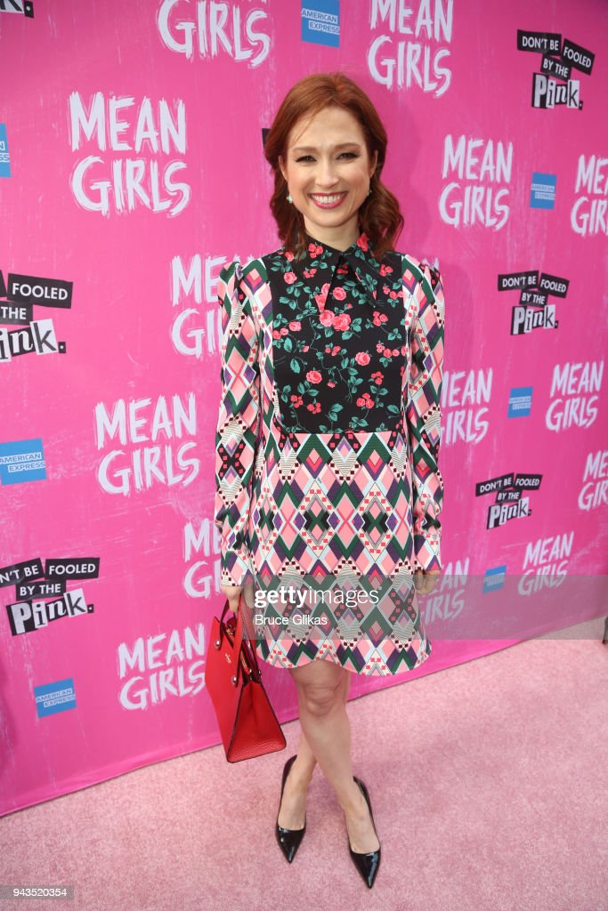 Ellie Kemper poses at the arrivals for the openng night of the new musical based on the cult film 'Mean Girls' on Broadway at The August Wilson Theatre on April 8, 2018 in New York City.
