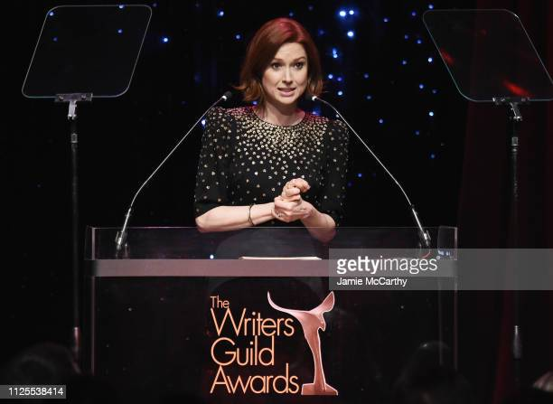 Ellie Kemper speaks onstage during the 71st Annual Writers Guild Awards New York ceremony at Edison Ballroom on February 17 2019 in New York City