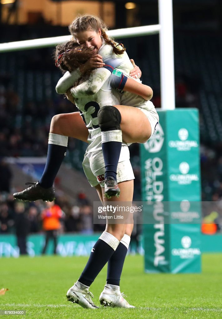 Ellie Kildunne of England and Jess Breach of England celebrate during the Old Mutual Wealth Series between England Women and Canada Women at Twickenham Stadium on November 25, 2017 in London, England.