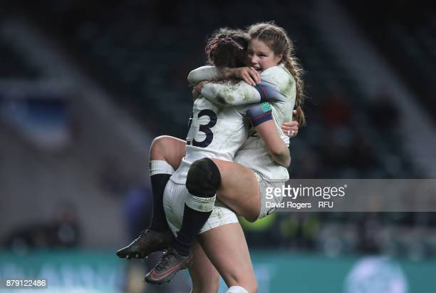 Ellie Kildunne of England and Jess Breach of England celebrates during the Old Mutual Wealth Series match between England and Canada at Twickenham...