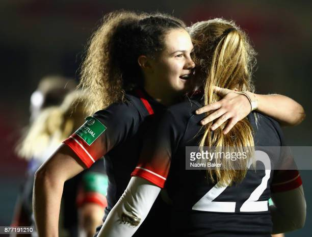 Ellie Kildunne of England celebrates after scoring a try with Zoe Harrison of England during the Old Mutual Wealth Series match between England Women...