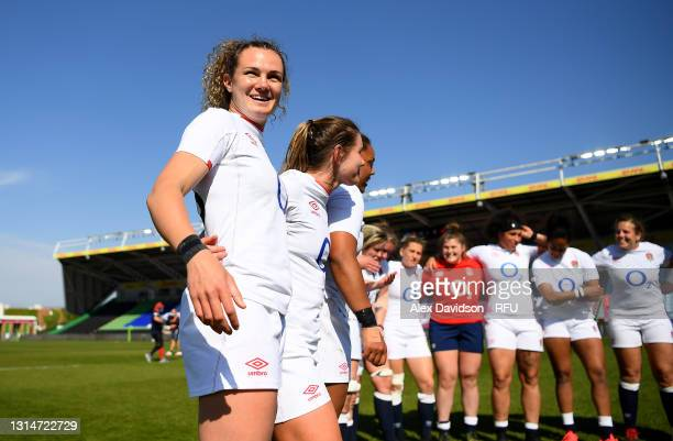 Ellie Kildunne of England looks on after the Women's Six Nations match between England and France at The Stoop on April 24, 2021 in London, England....