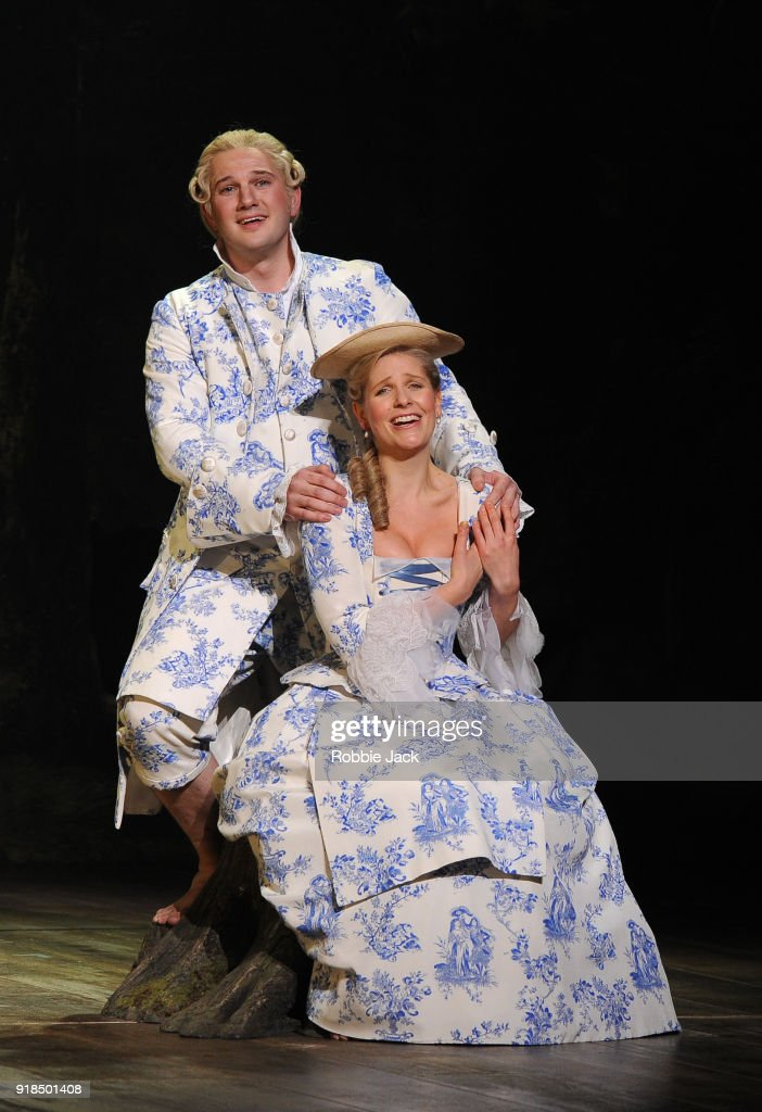 Ellie Lougharne as Phyllis and Marcus Farnsworth as Strephon in English National Opera's production of Gilbert and Sullivan's Iolanthe directed by Cal McCrystal and conducted by Timothy Henty at The London Coliseum on February 12, 2018 in London, England.