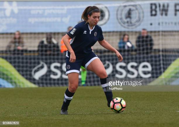 Ellie Mason of Millwall Lionesses L during The FA Women's Cup Fifth Round match between Arsenal against Millwall Lionesses at Meadow Park Borehamwood...