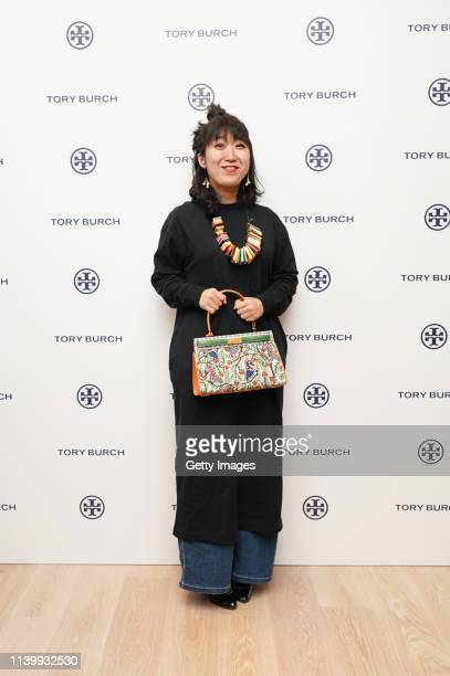 Ellie Omiya attends the Tory Burch Ginza Boutique Opening on April 02 2019 in Tokyo Japan