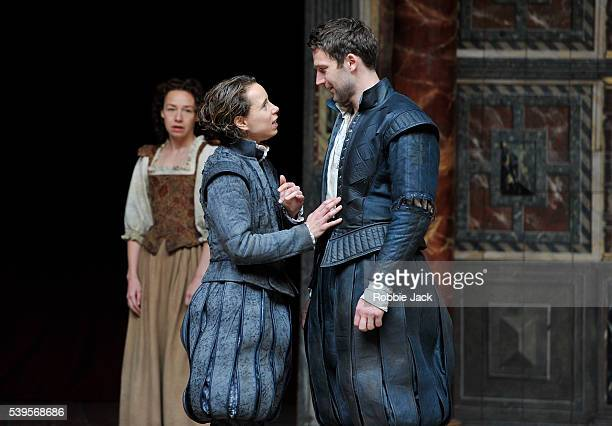 Ellie Piercy as Celia Michelle Terry as Rosalind and Simon Harrison as Orlando in William Shakespeare's As You Like It directed by Blanche McIntyre...