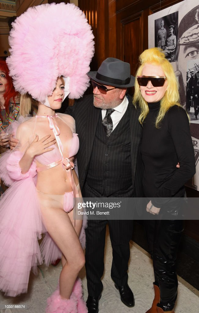 Ellie Rae Winstone, Ray Winstone and Pam Hogg pose backstage at the Pam Hogg show during London Fashion Week September 2018 at The Freemason's Hall on September 14, 2018 in London, England.