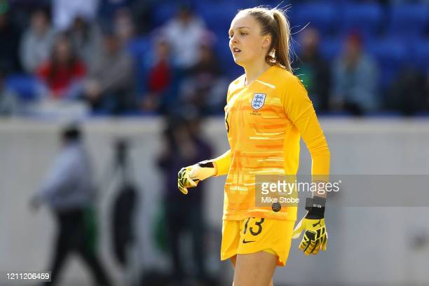 Ellie Roebuck of England looks on against Japan at Red Bull Arena on March 08, 2020 in Harrison, New Jersey.